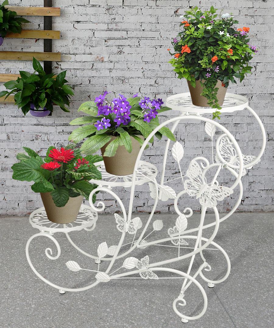 Portavaso fioriera scaletta con 3 piani per vasi di fiori for Vasi decorativi per giardino
