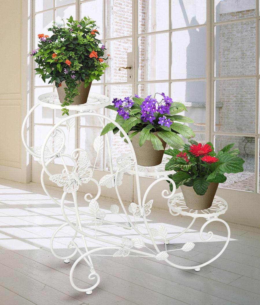 Portavaso fioriera scaletta con 3 piani per vasi di fiori for Decorazioni in ferro per giardino