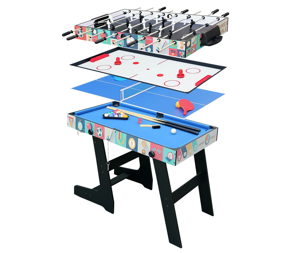 4ft Folding Pool/Table Tennis/Hockey/Foosball Table 4 In 1 Multi Game