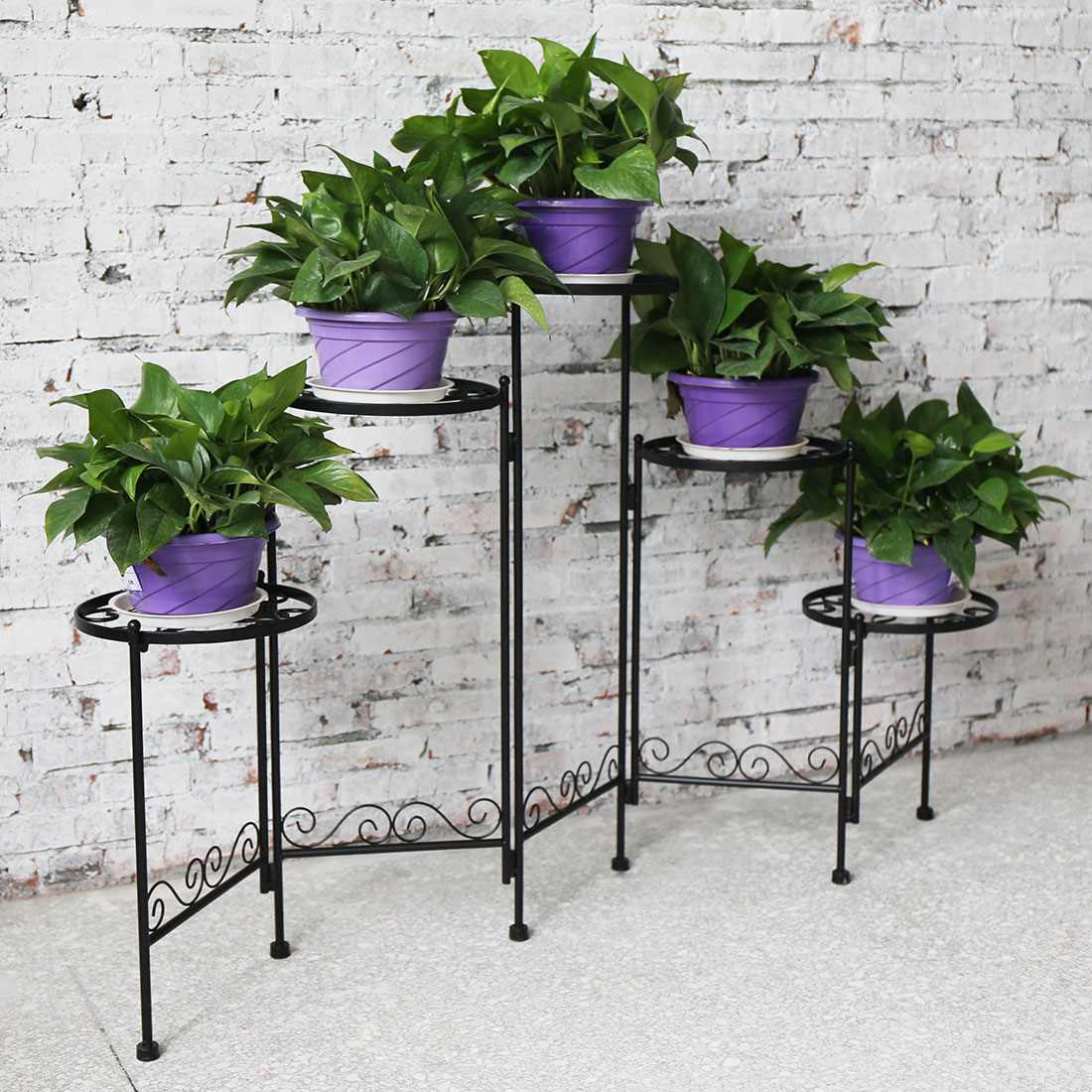 Folding garden metal plant stand home office decor 5 for Plaque metal decorative pour jardin
