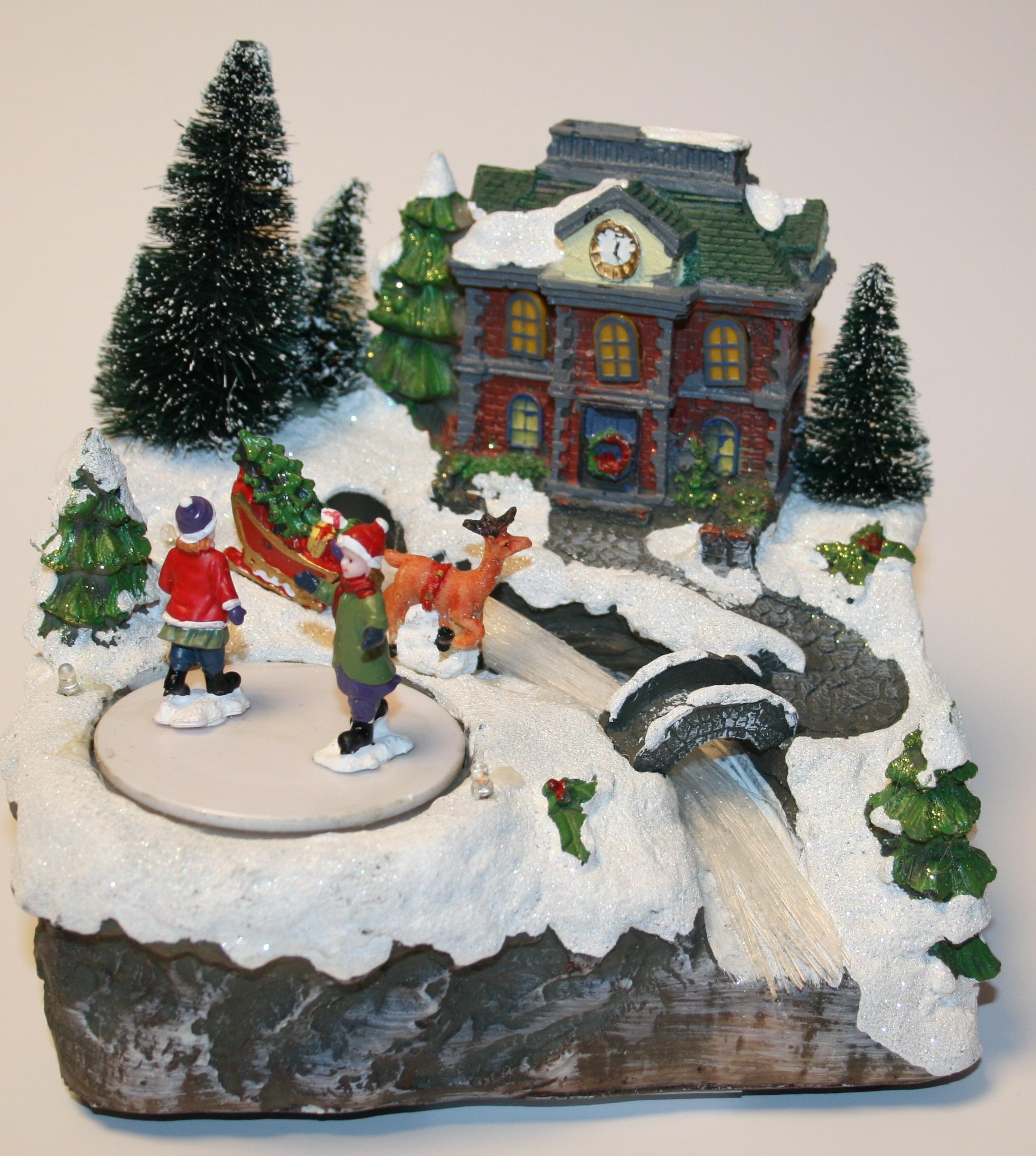 Christmas Novelty Decoration Led Fibre Optic House Battery