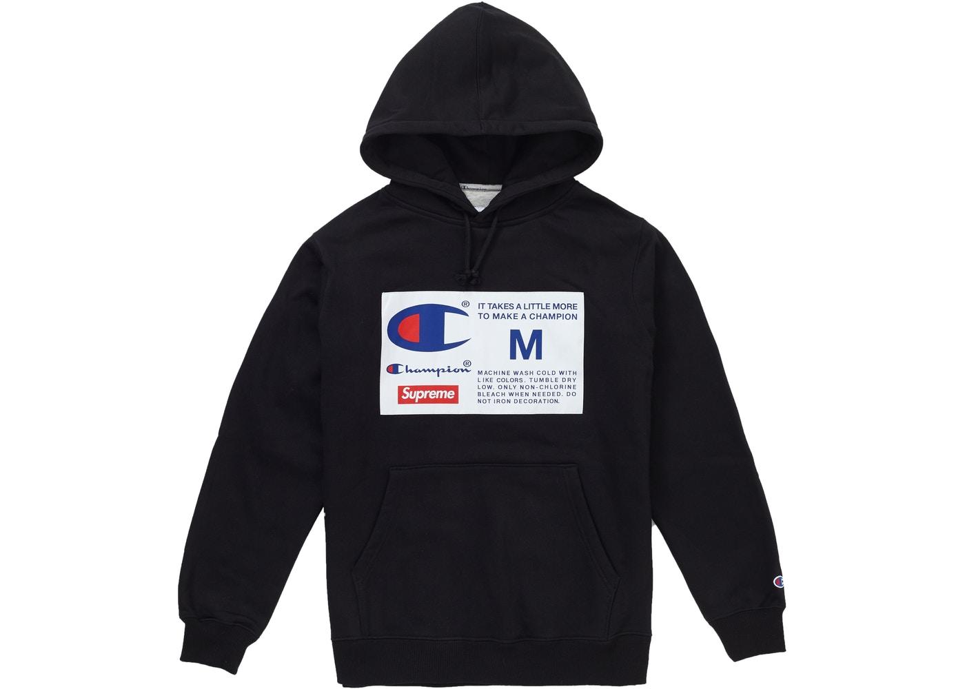 Supreme Champion Label Hooded Sweatshirt Black