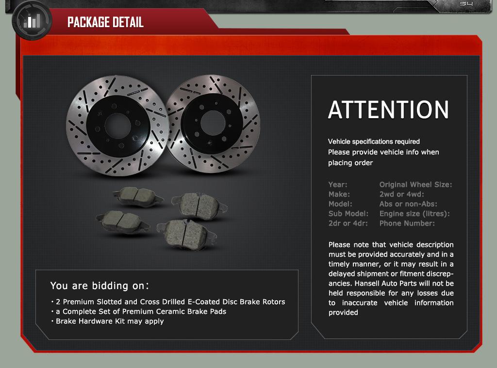 Rear Premium Coated Slotted Brake Rotors Ceramic Pads Fit 11 12 Kia Optima