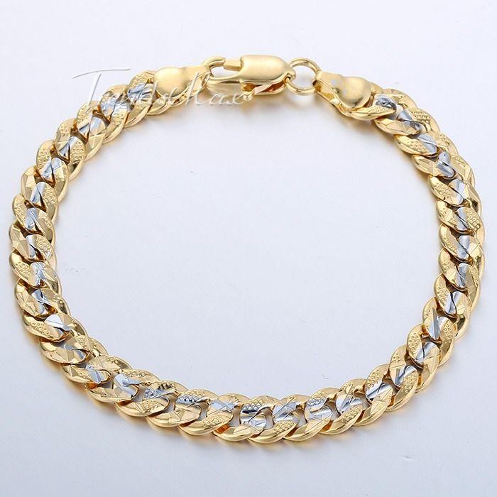 Gold Link Bracelet Womens: 6mm Women MENS Chain Curb Cuban Link Yellow Gold Filled GF