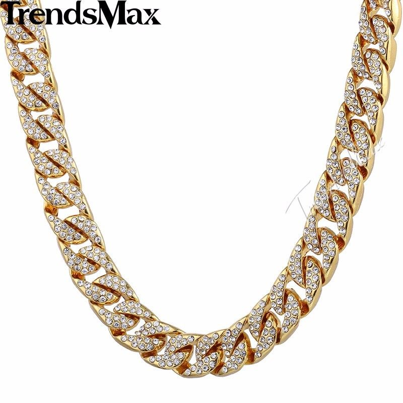 14mm Gold Filled Chain Necklace for Mens Womens Curb Bracelet Hip ...
