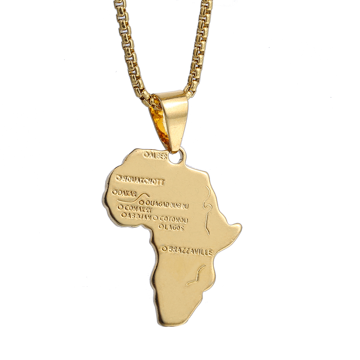 Gold Chain Necklaces for Mens Womens GF Africa Map Pendants Box ...