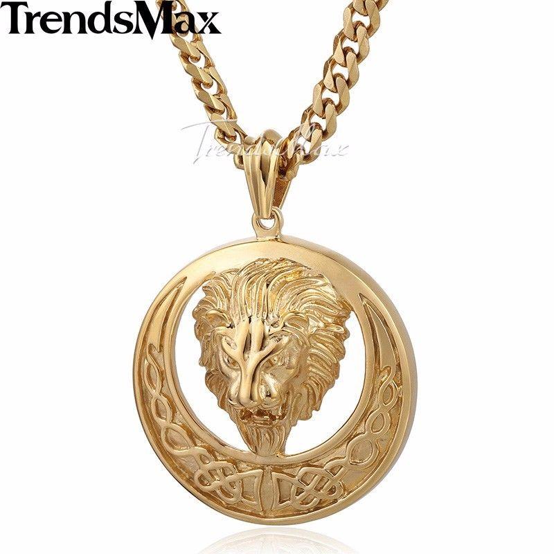 Men chain gold tone curb cuban lion celtic knot pendant stainless men chain gold tone curb cuban lion celtic mozeypictures Gallery