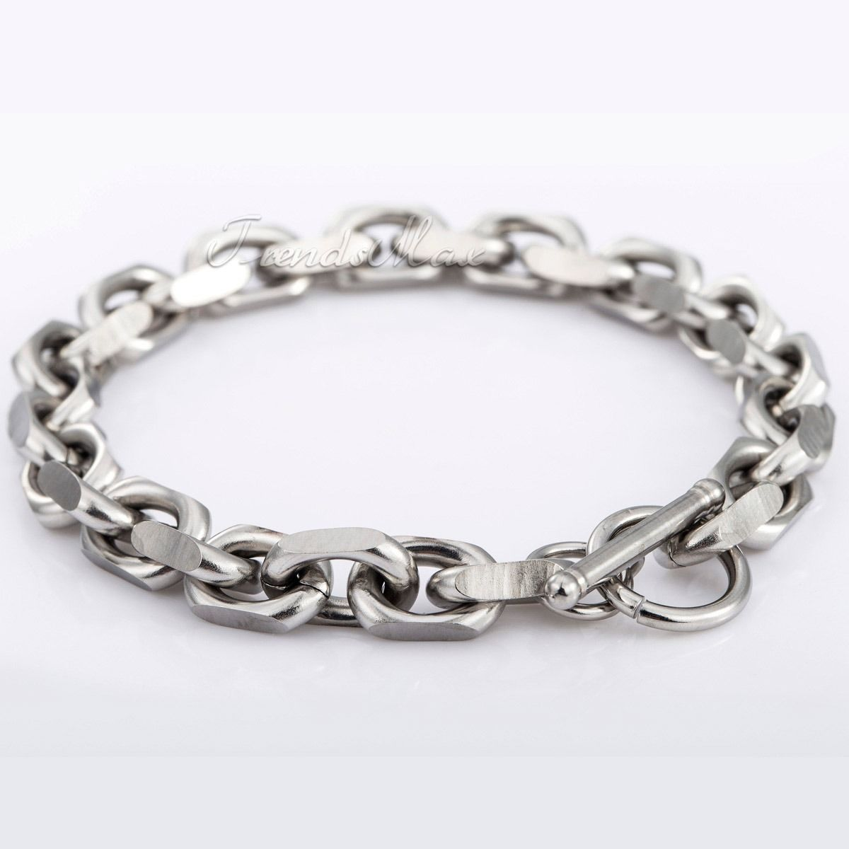 Silver Chain Link Bracelet: 8MM Mens Chain Silver Tone Cable Link Bracelet Stainless