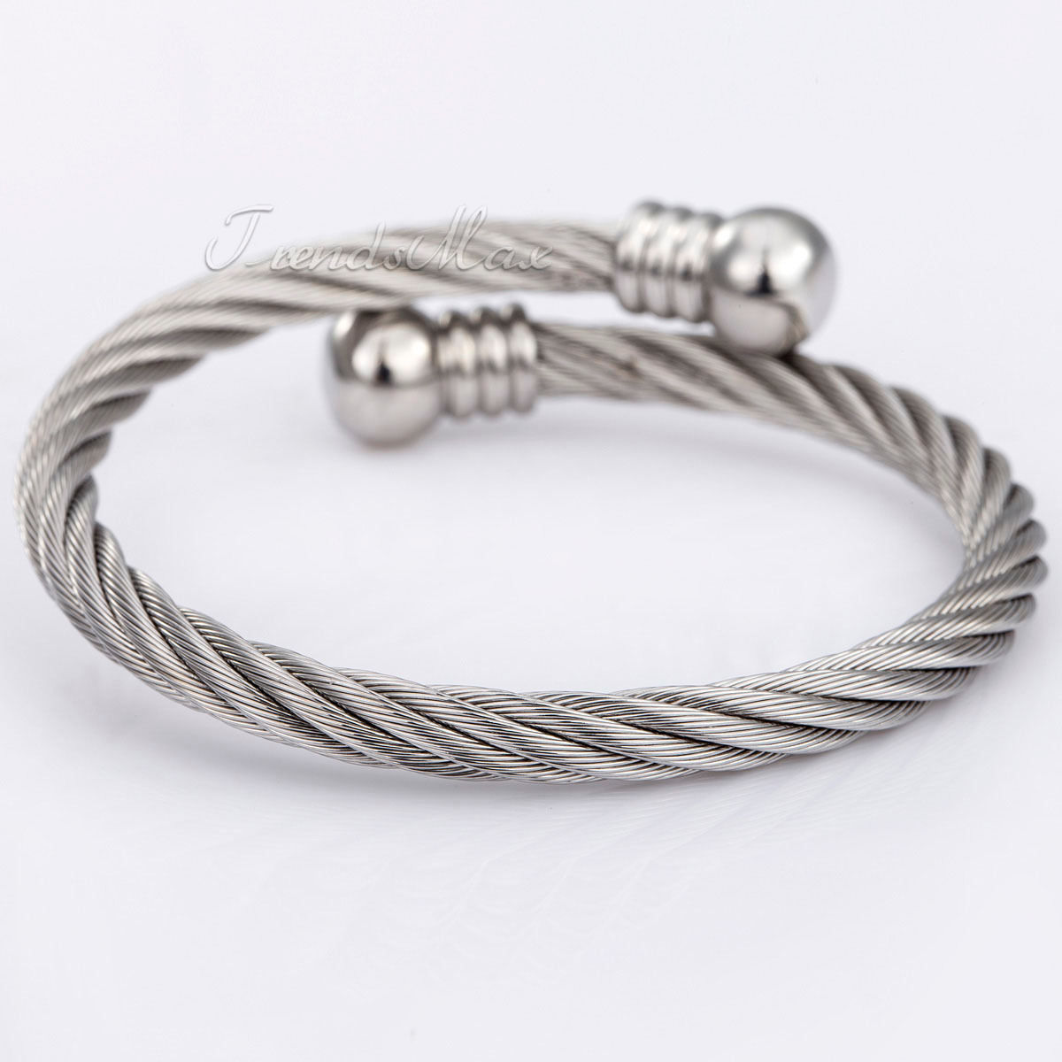 Silver Rope Bracelet: Silver Black Mens Chain Boys Stainless Steel Rope Cuff
