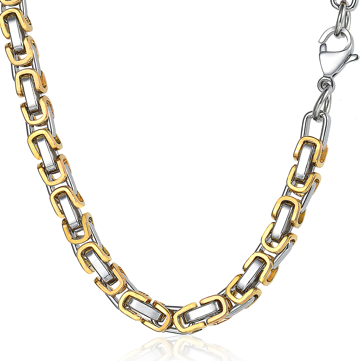5mm Silver Black Gold Chain Necklace for Mens Byzantine ...