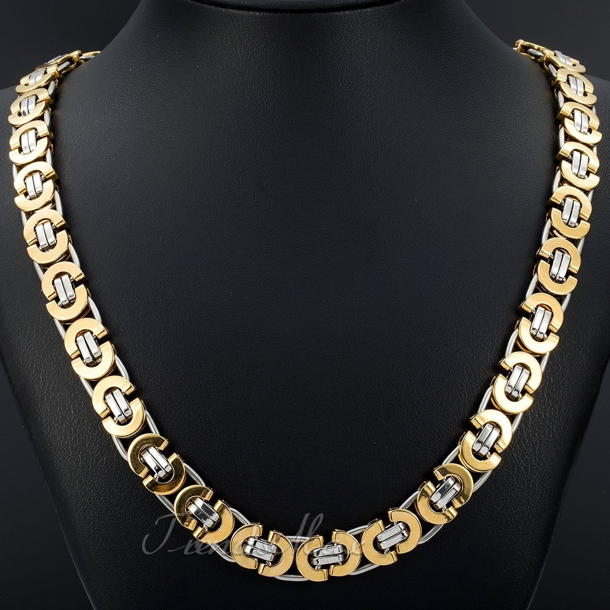 Mens Gold Byzantine Necklace: 6/8/11mm MENS Chain Gold Silver Flat Byzantine Stainless