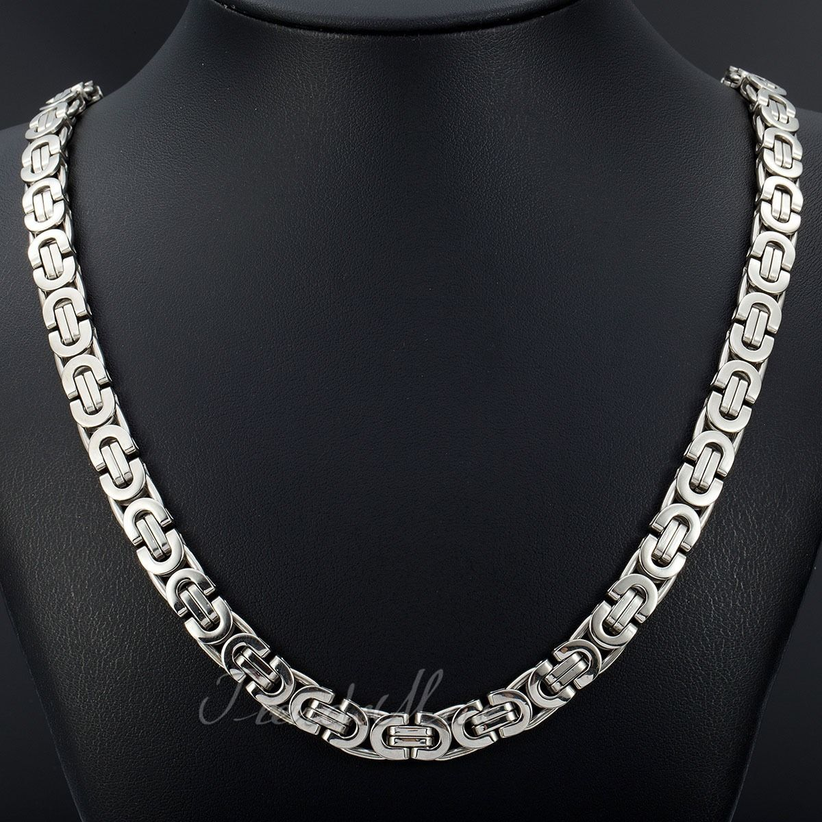 Black silver gold chain necklaces for mens byzantine for Stainless steel jewelry necklace