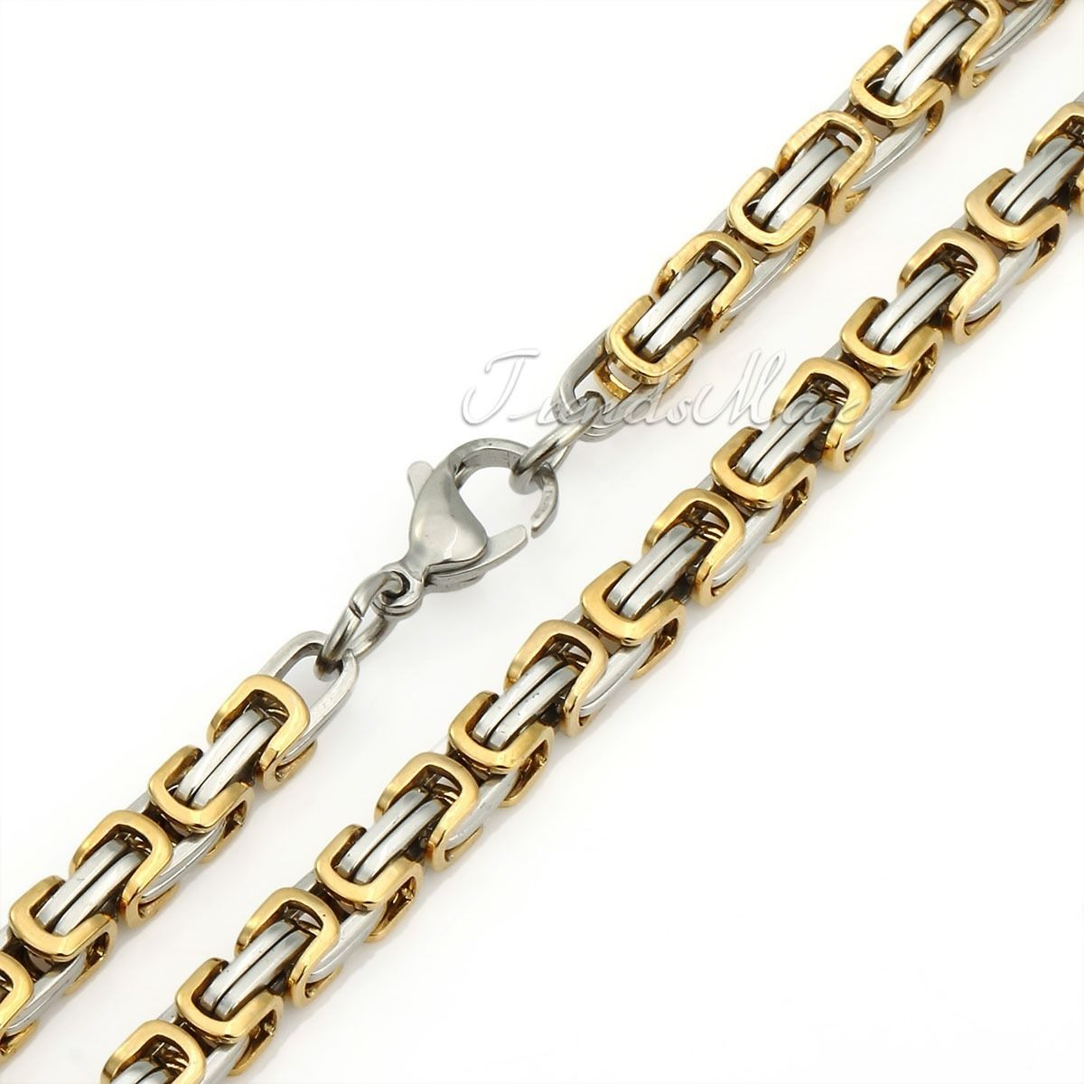 Mens Gold Byzantine Necklace: 18-36'' MEN Stainless Steel 5mm Silver/Gold/Black