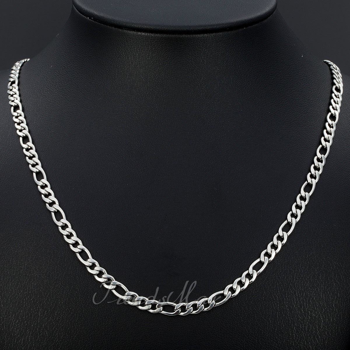 5 7 9mm Boys Mens Chain Silver Tone Stainless Steel Figaro