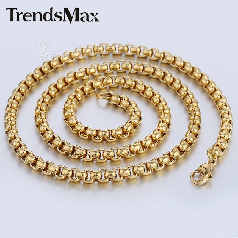 Gold Link Bracelet Womens: 2/3/4/5mm Womens Mens Chain Box Link Gold Tone Stainless