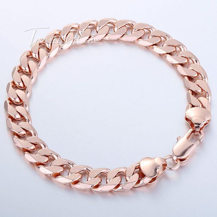 "Chain Bracelet Womens: 8-11"" MENS WOMENS Rose Gold Filled GF Chain Bracelet 9mm"