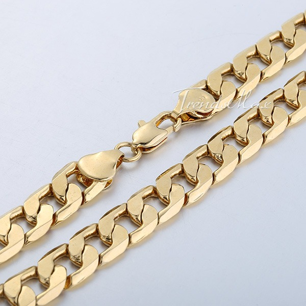 18-36-034-MENS-WOMENS-Yellow-Gold-Filled-GF-Chain-Necklace-4-8-10MM-Curb-Cuban-Link
