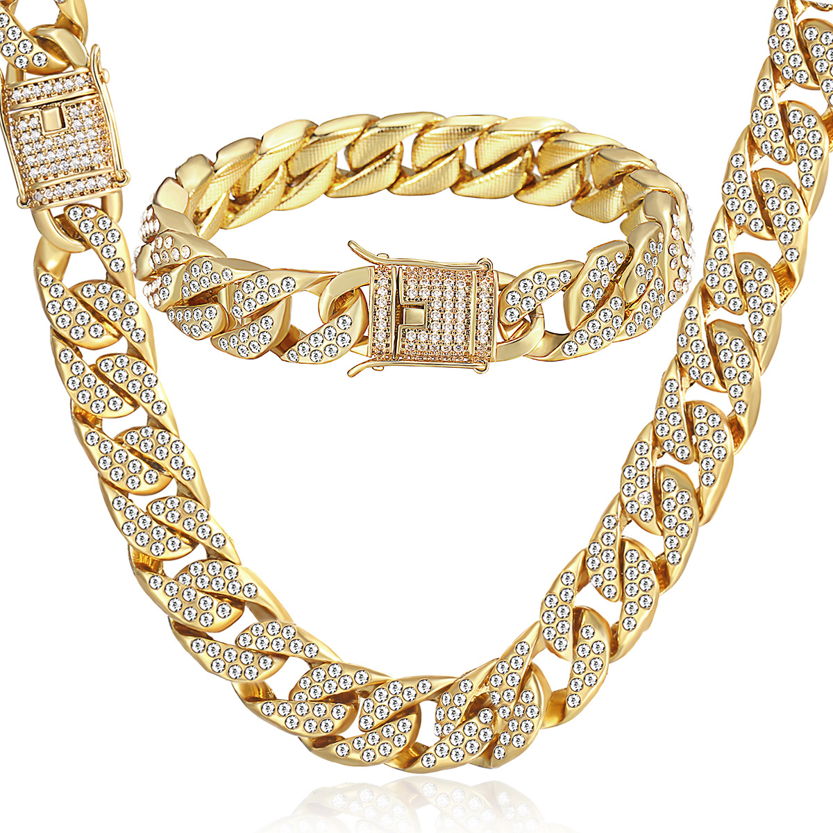 gold mm link cuban mens miami necklace chain inches yellow