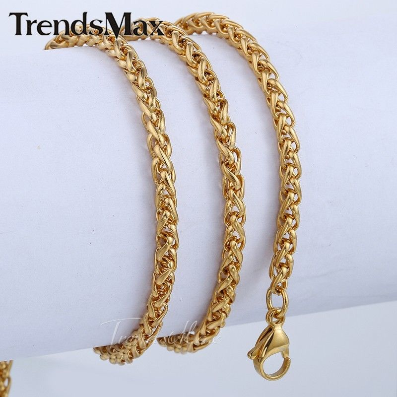 Braided Wheat Gold Plated Stainless Steel Womens Mens