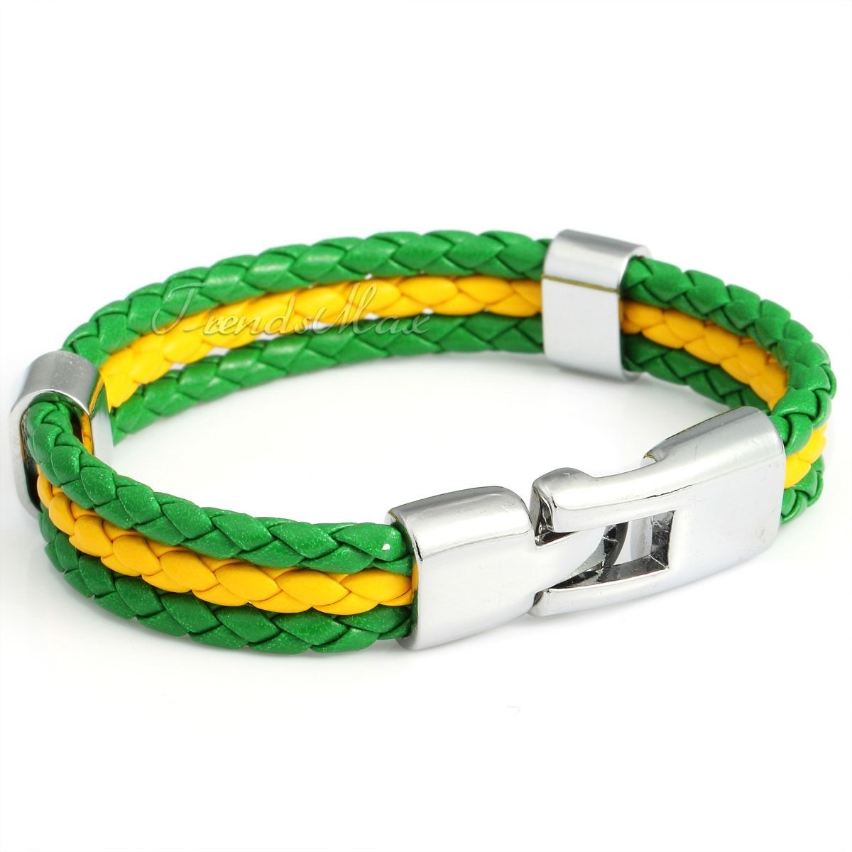 12mm Mens Womens Unisex Rope Braided Faux Leather Bracelet