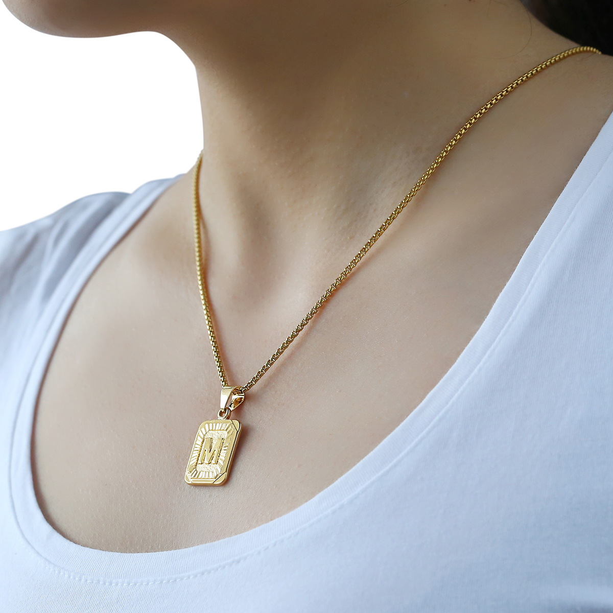 Unique Mens Women Chain Pendant Necklace Gold Filled Square Initial  OU25