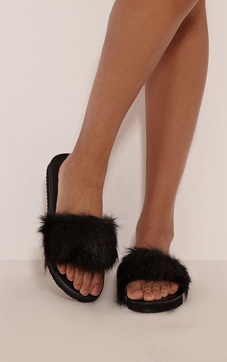 PrettyLittleThing Womens Ladies India Black Fluffy Sliders ...