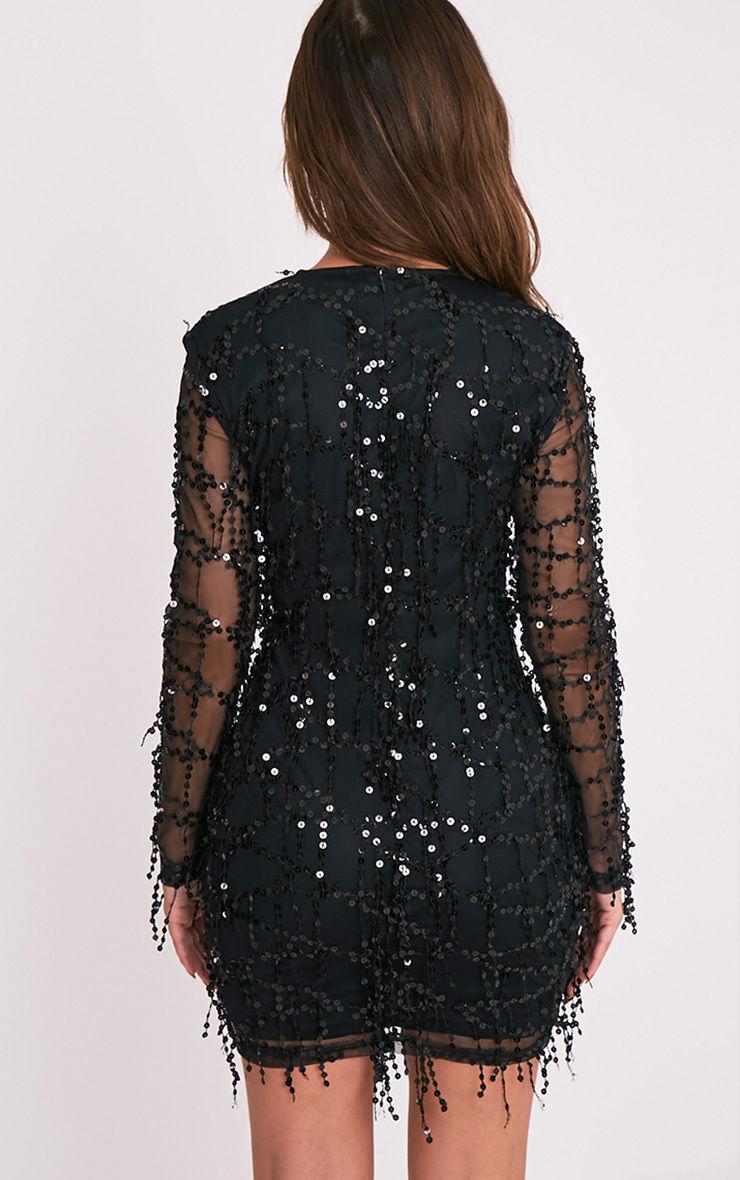 c1b181e95900 Freyana Black Sequin Detail Long Sleeve Mini Dress – Little Black ...