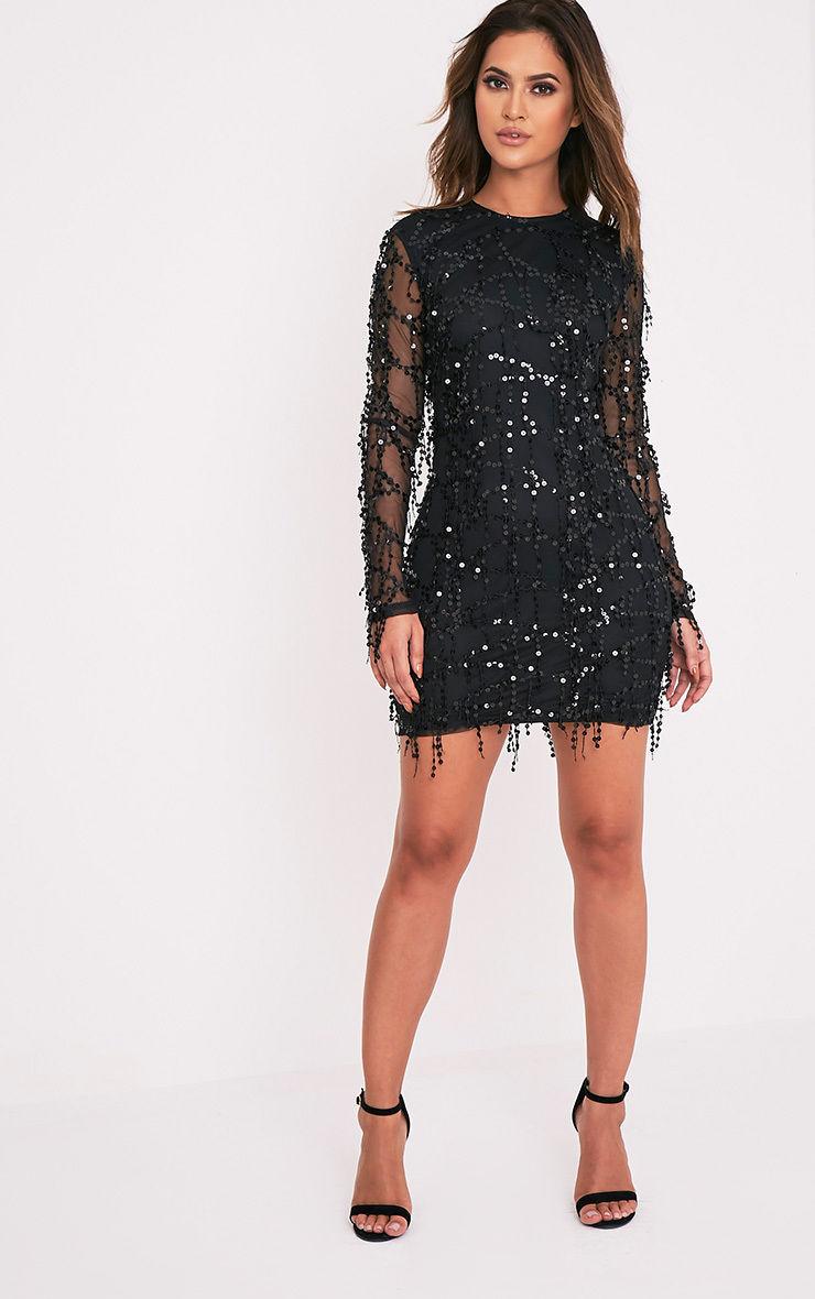 937862fa5bd5 Prettylittlething Womens Freyana Black Sequin High Neck Long Sleeve. Black  Sequin Detail Long Sleeve Mini Dress