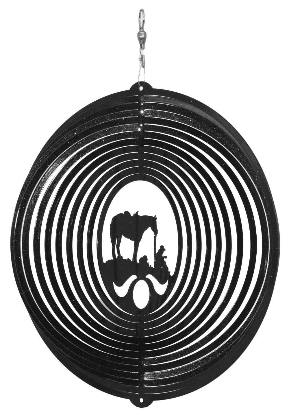 SWEN Products FLYING PIG CIRCLE Swirly Metal Wind Spinner