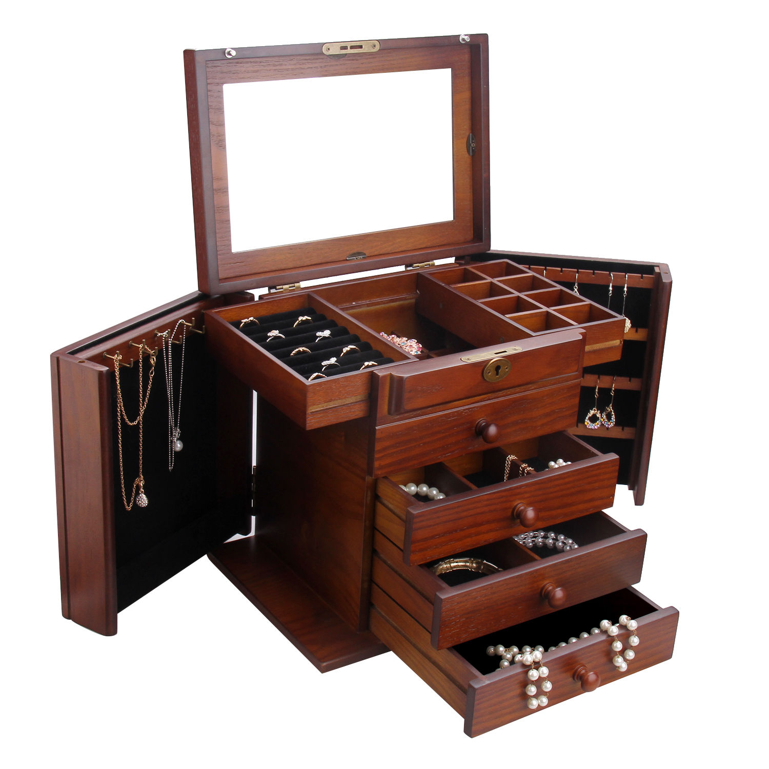 jewelry box wood jewelry box organizer armoire ring necklace display 2668