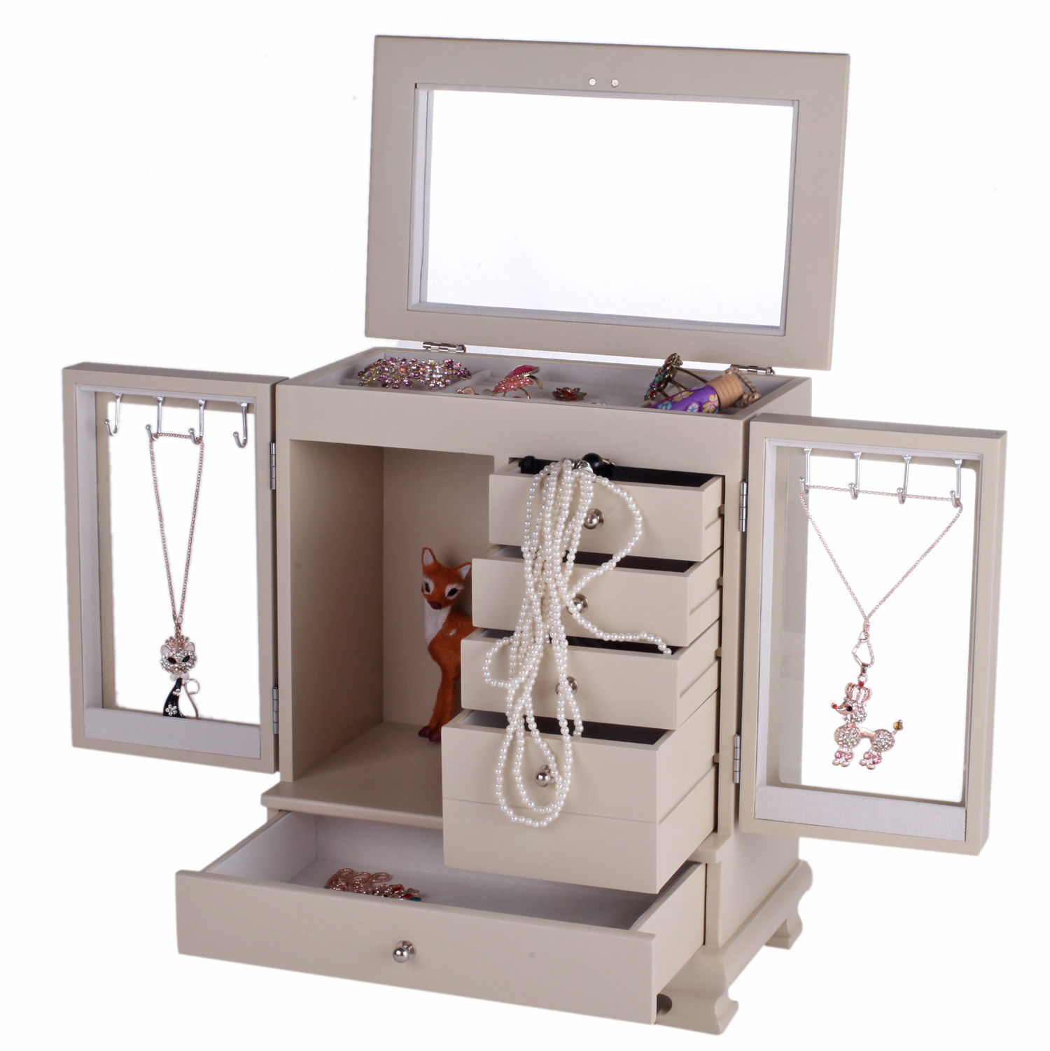 Large Wooden Jewelry Box Armoire Cabinet Makeup Organizer