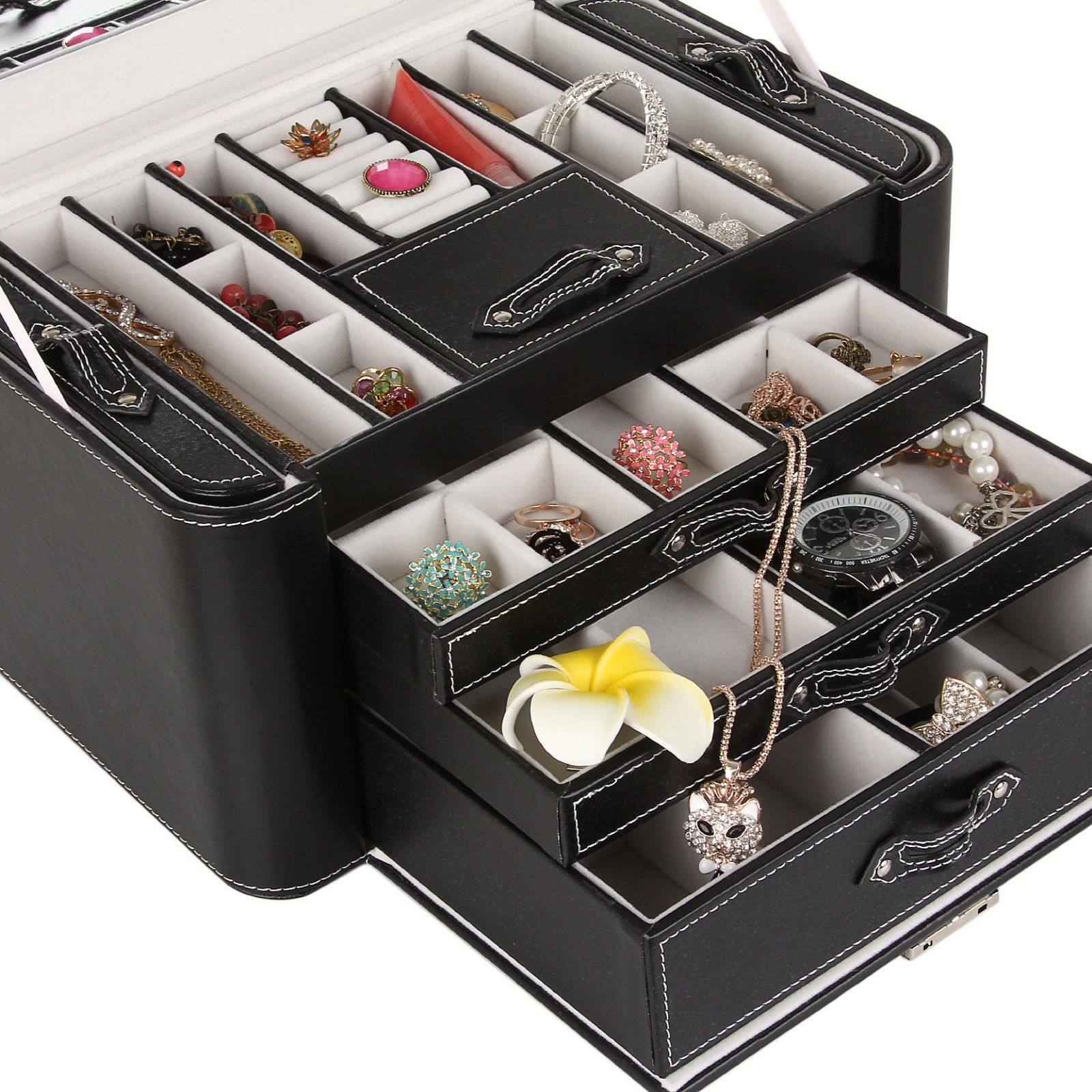 Extra Large Jewelry Box Chest Watch Storage Case Armoire 3