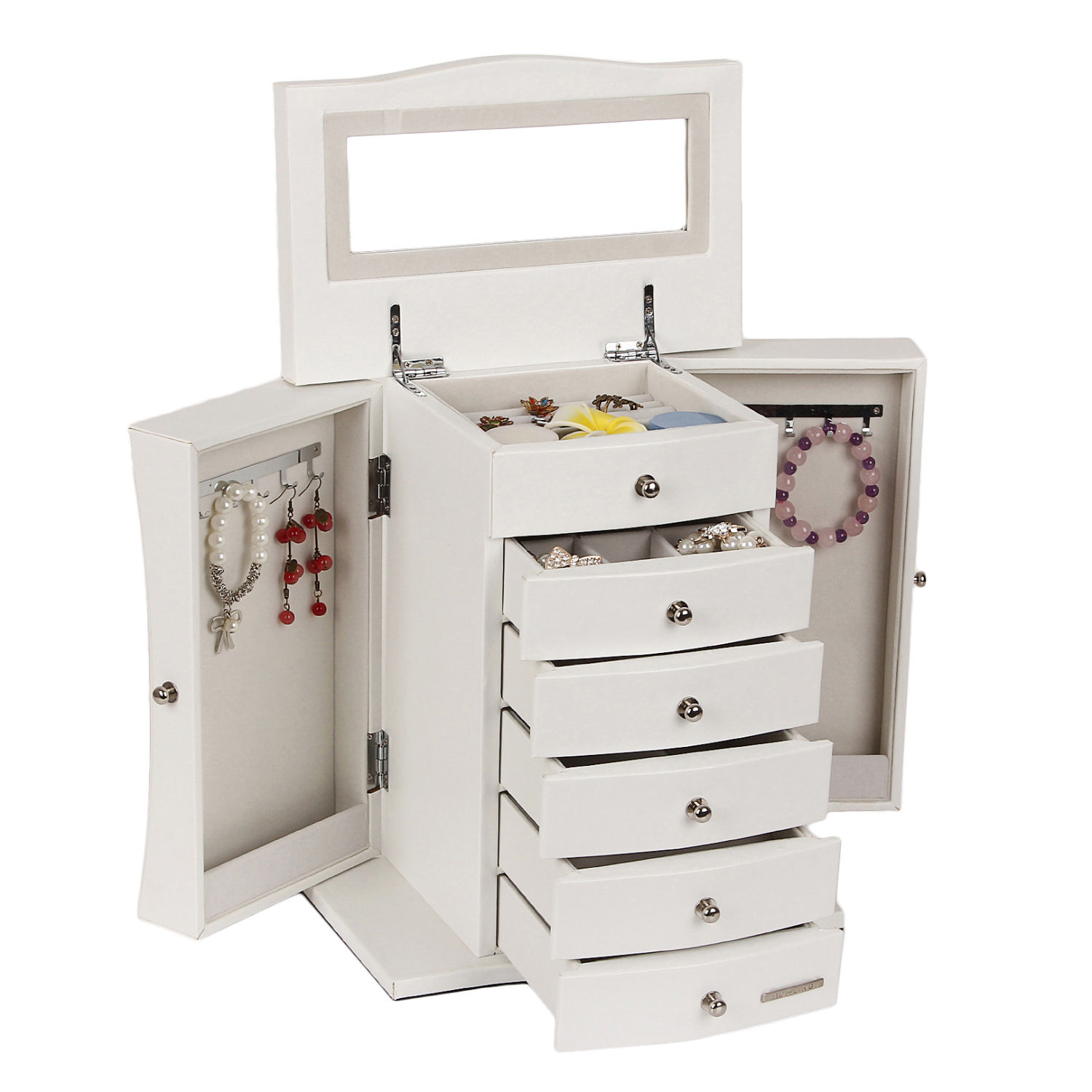 Large Jewelry Box Case Armoire Cabinet Rings Storage Organizer