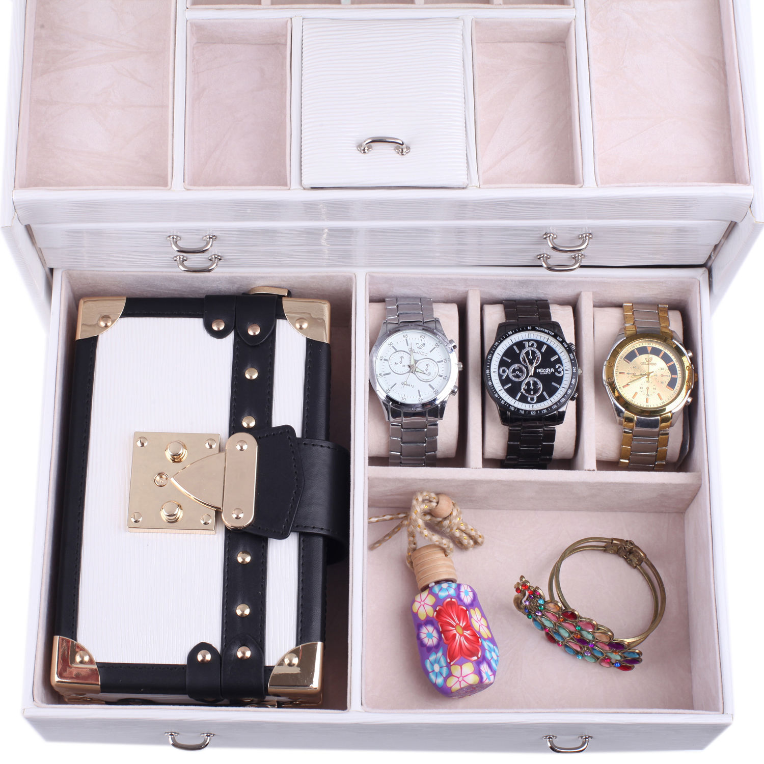 Jewelry Box Case Ring Earring Necklace Watch Storage