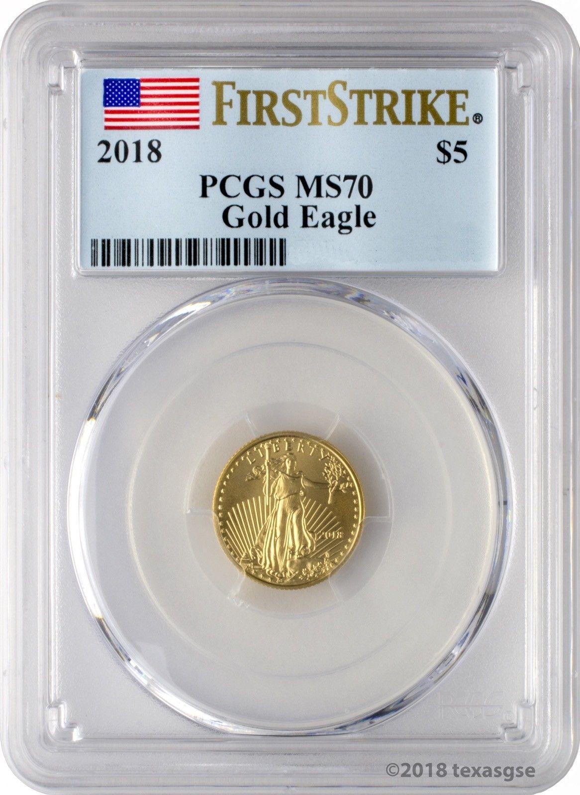 Купить 2018 $5 Gold Eagle PCGS MS70 First Strike - Blue Flag Label