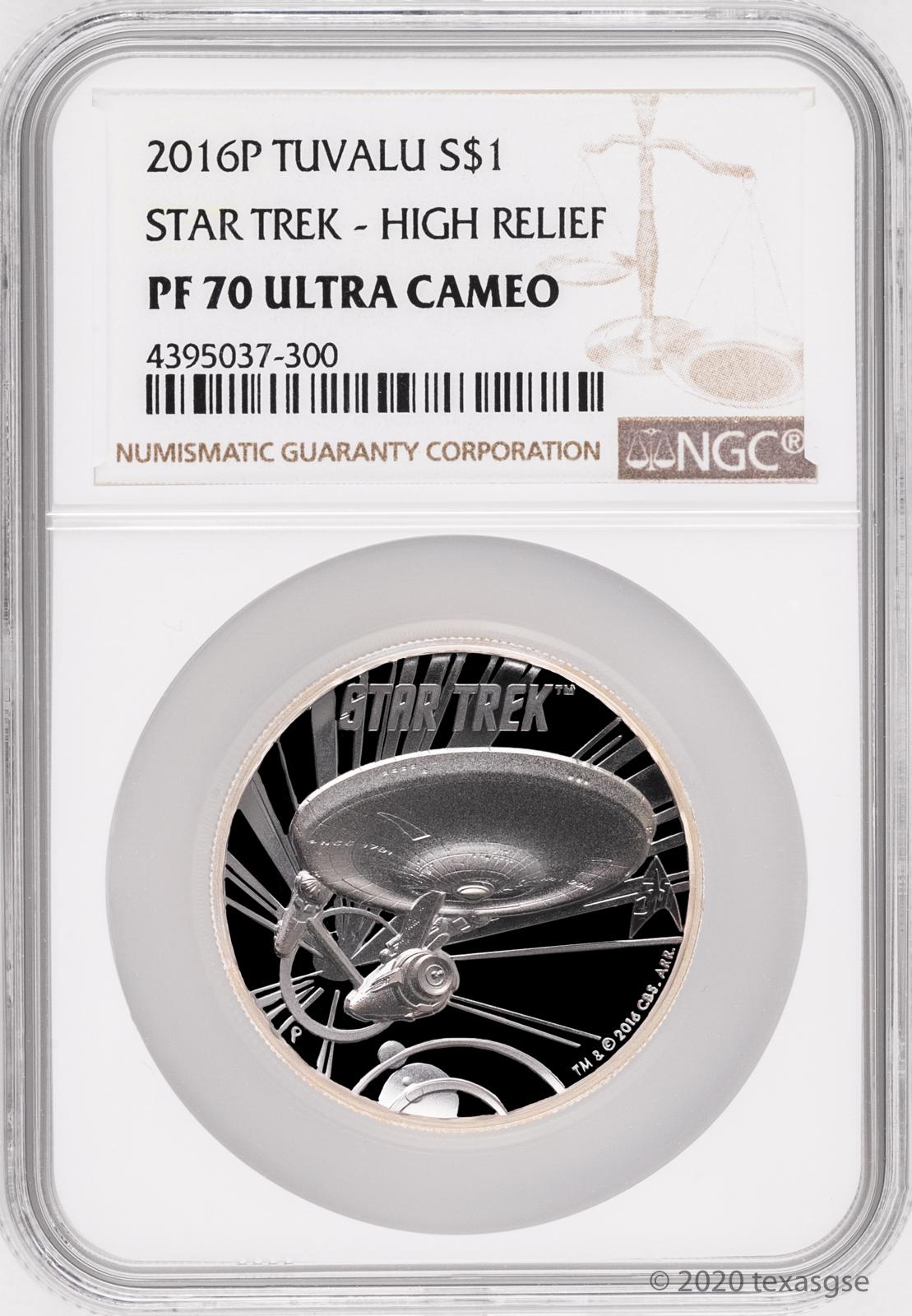 2016-P $1 NGC MS70 Tuvalu STAR TREK .999 Silver Coin