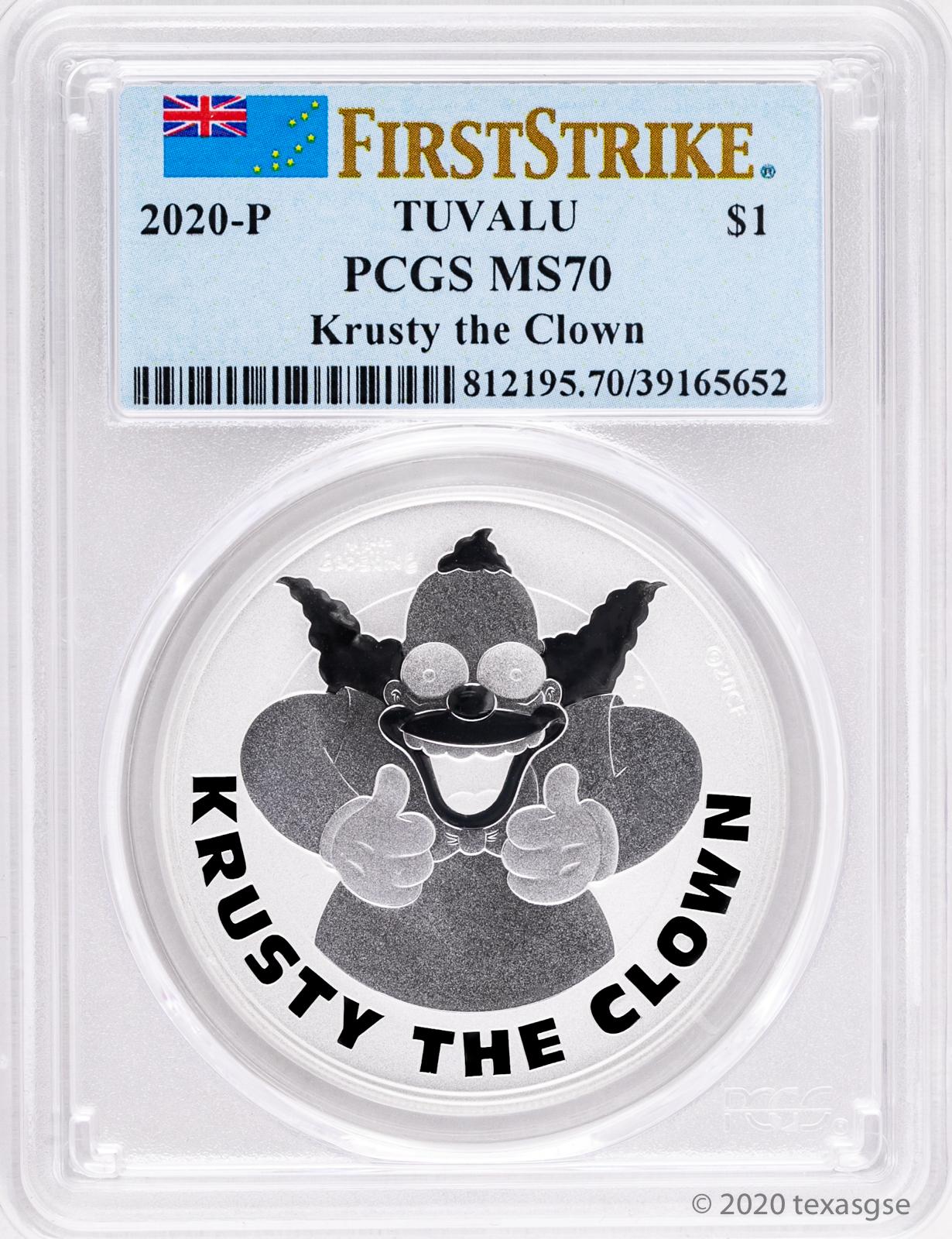 2020 Simpsons Krusty the Clown $1 1oz .9999 Silver COIN NGC MS70 FR Simpson