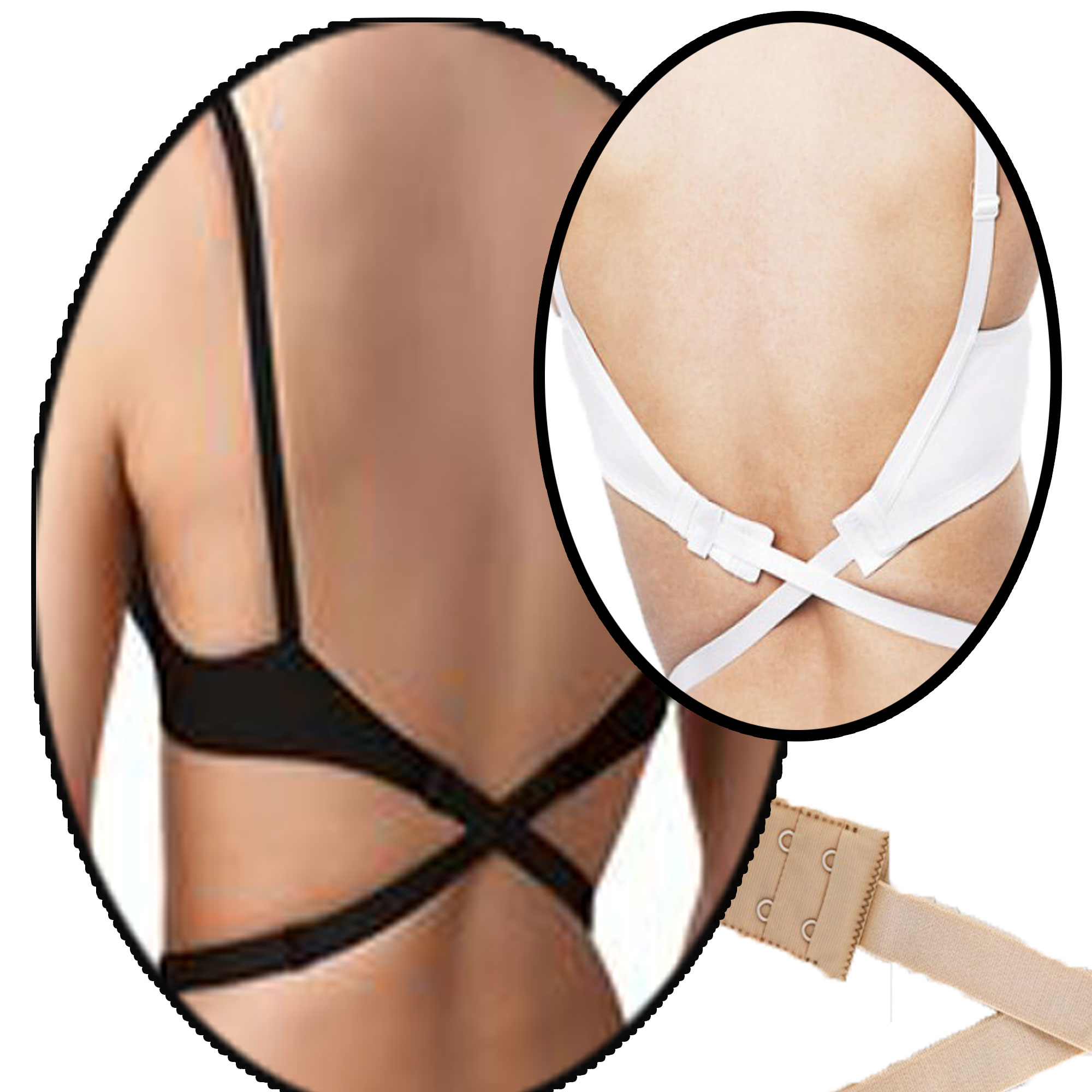 085f6cf430d2d BACKLESS LOW BACK BRA STRAP CONVERTER EXTENDER WHITE BLACK or NUDE or PACK  OF 3