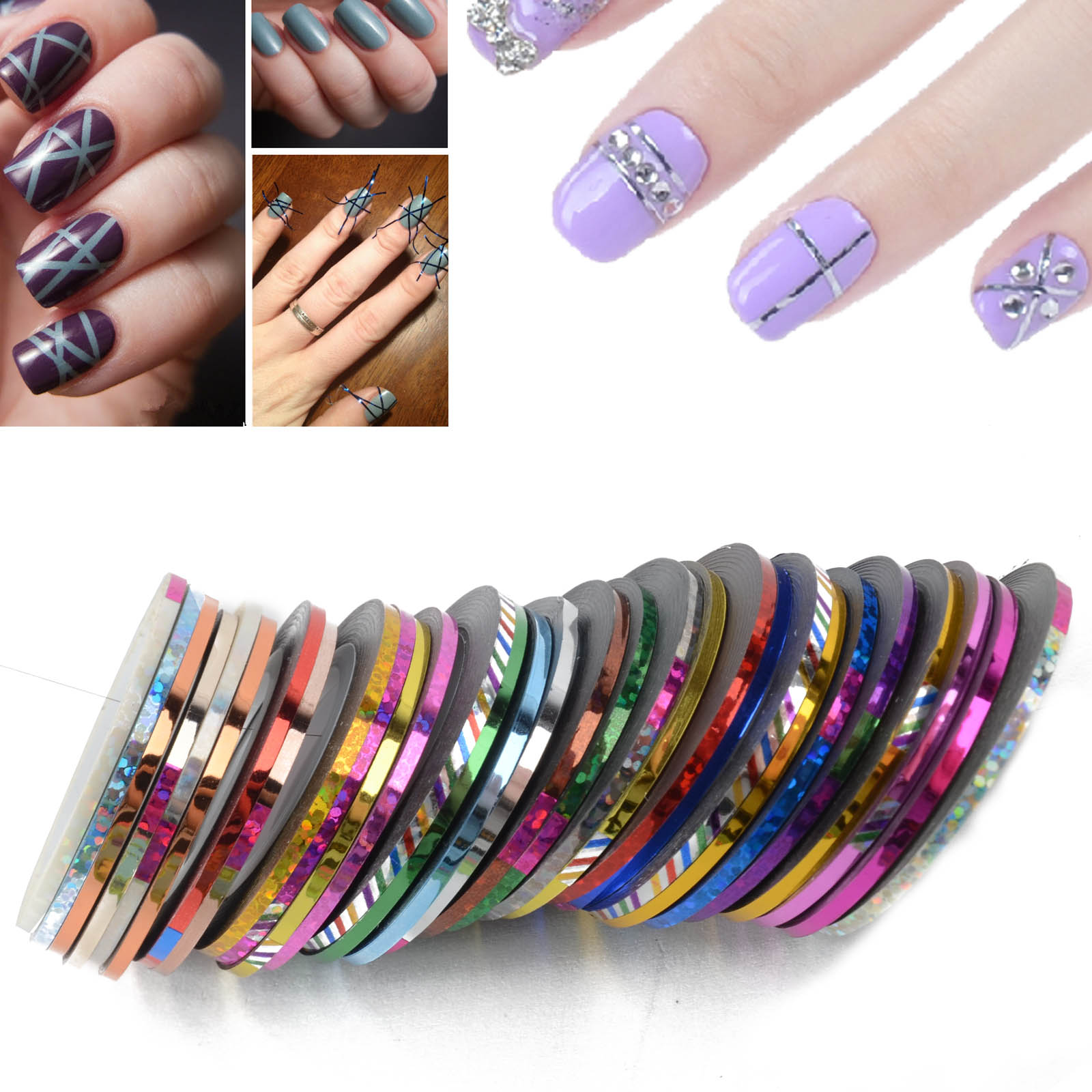 Nail Art Striping Tape Line Decoration Pack Of 10 Rolls 100 Lint