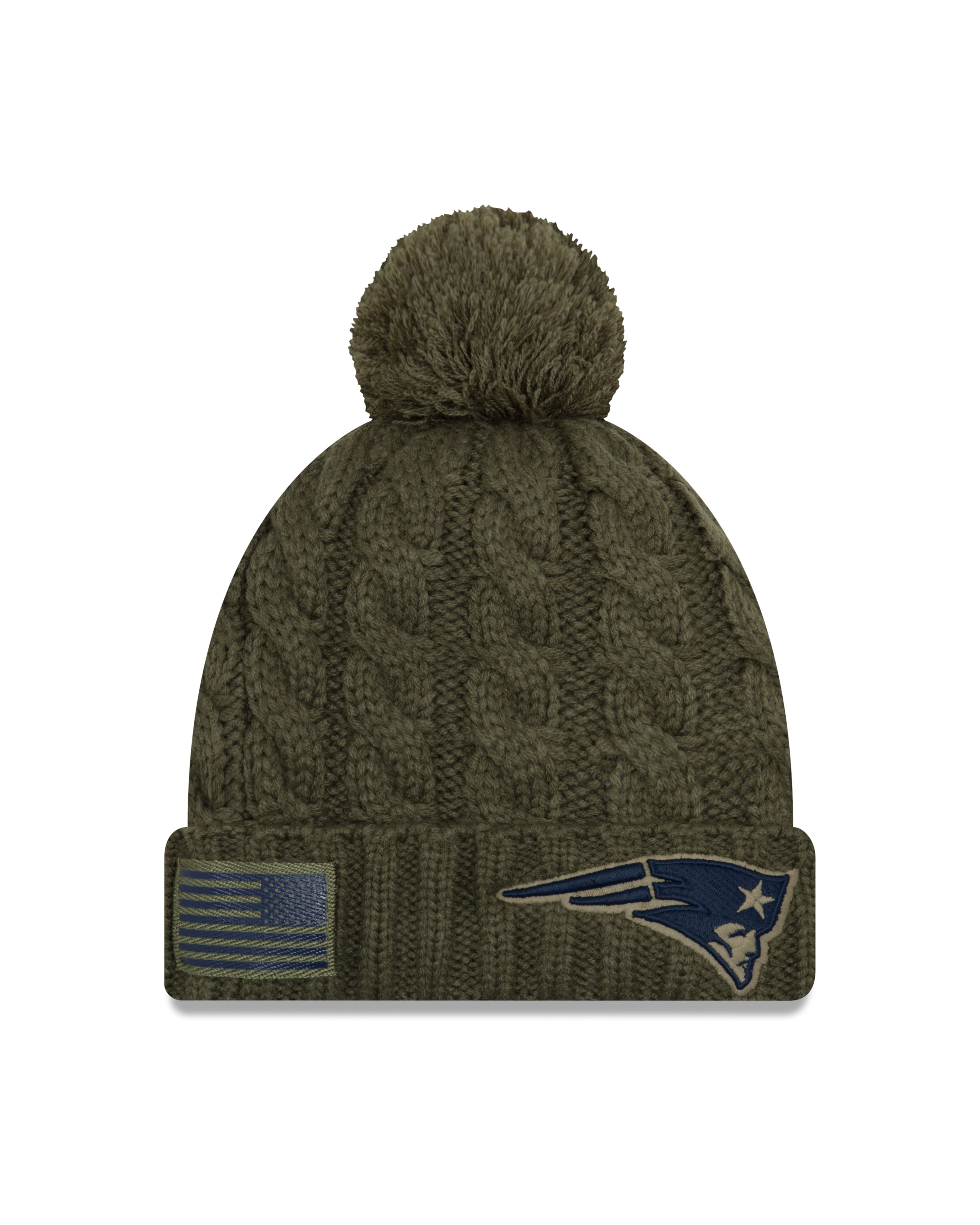 New England Patriots 2018 On Field Salute to Service Women s Knit Hat with  Pom 3731e2a777