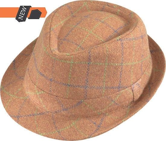 Details about Henschel Camel Wool Plaid Fedora 4400-78 39a211327be