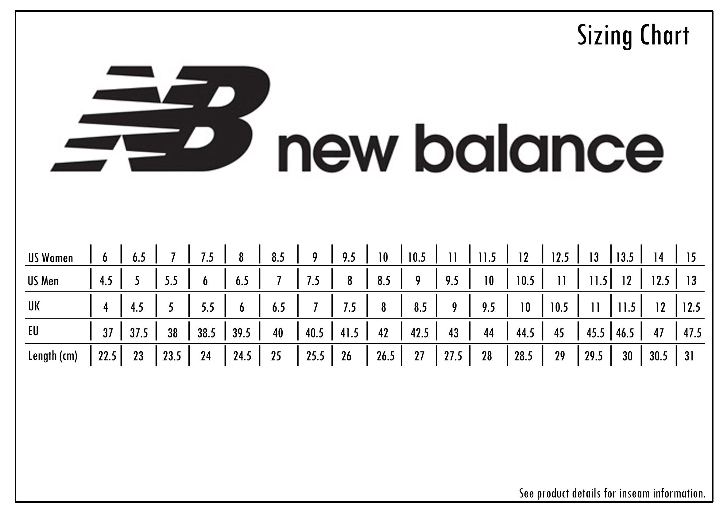 new balance size chart women's Limit