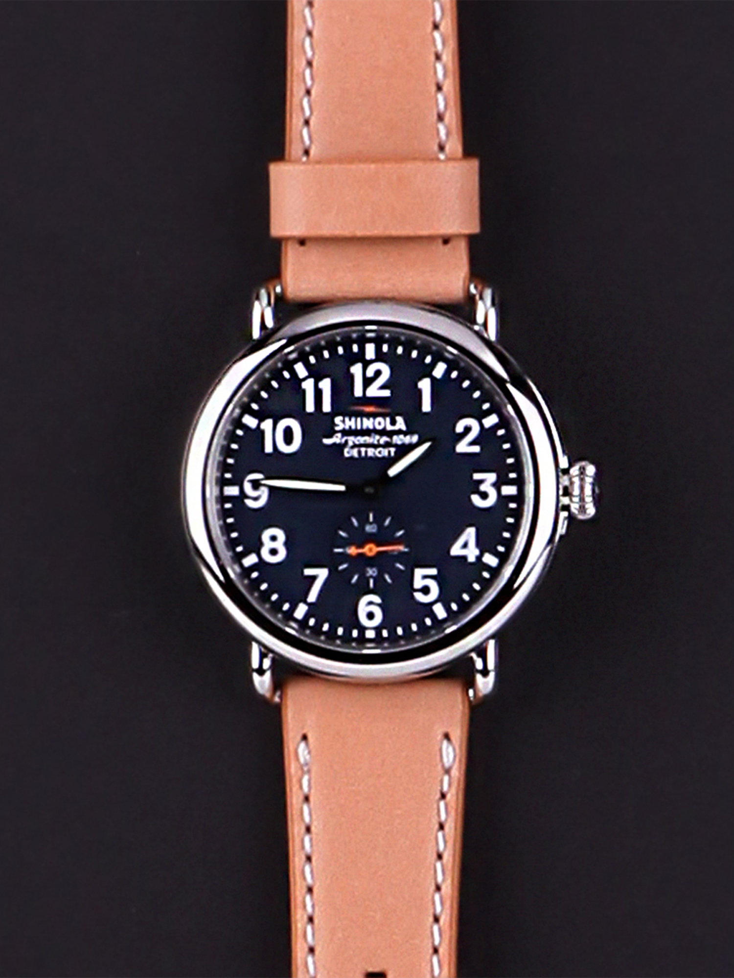 dark shinola runwell watch mens watches down keyboard brown arrow essex