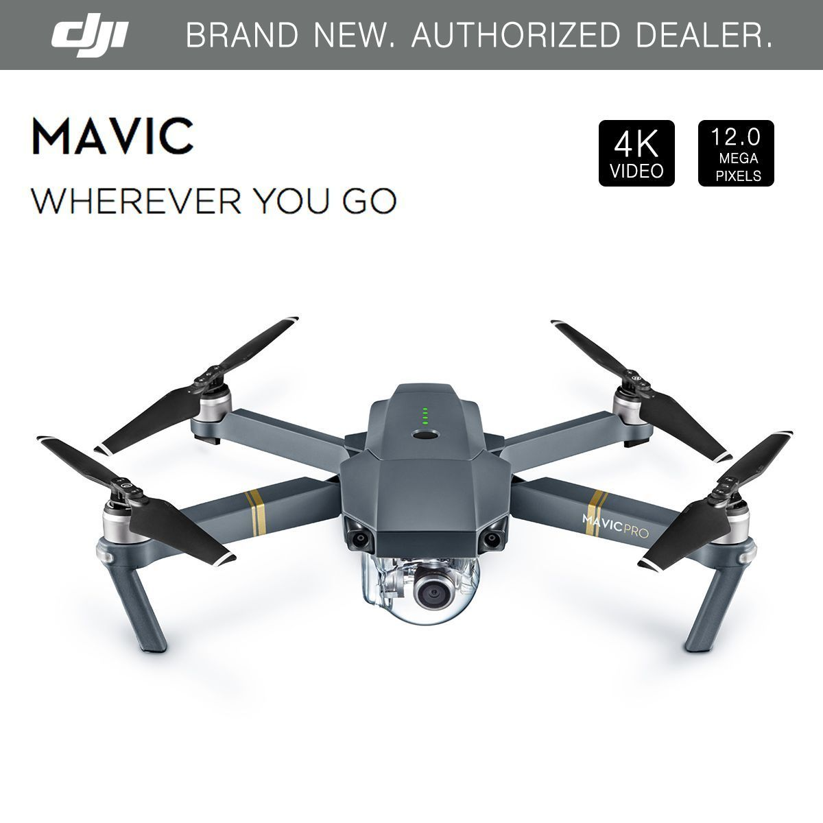 dji mavic pro folding drone - 4k stabilized camera, active track