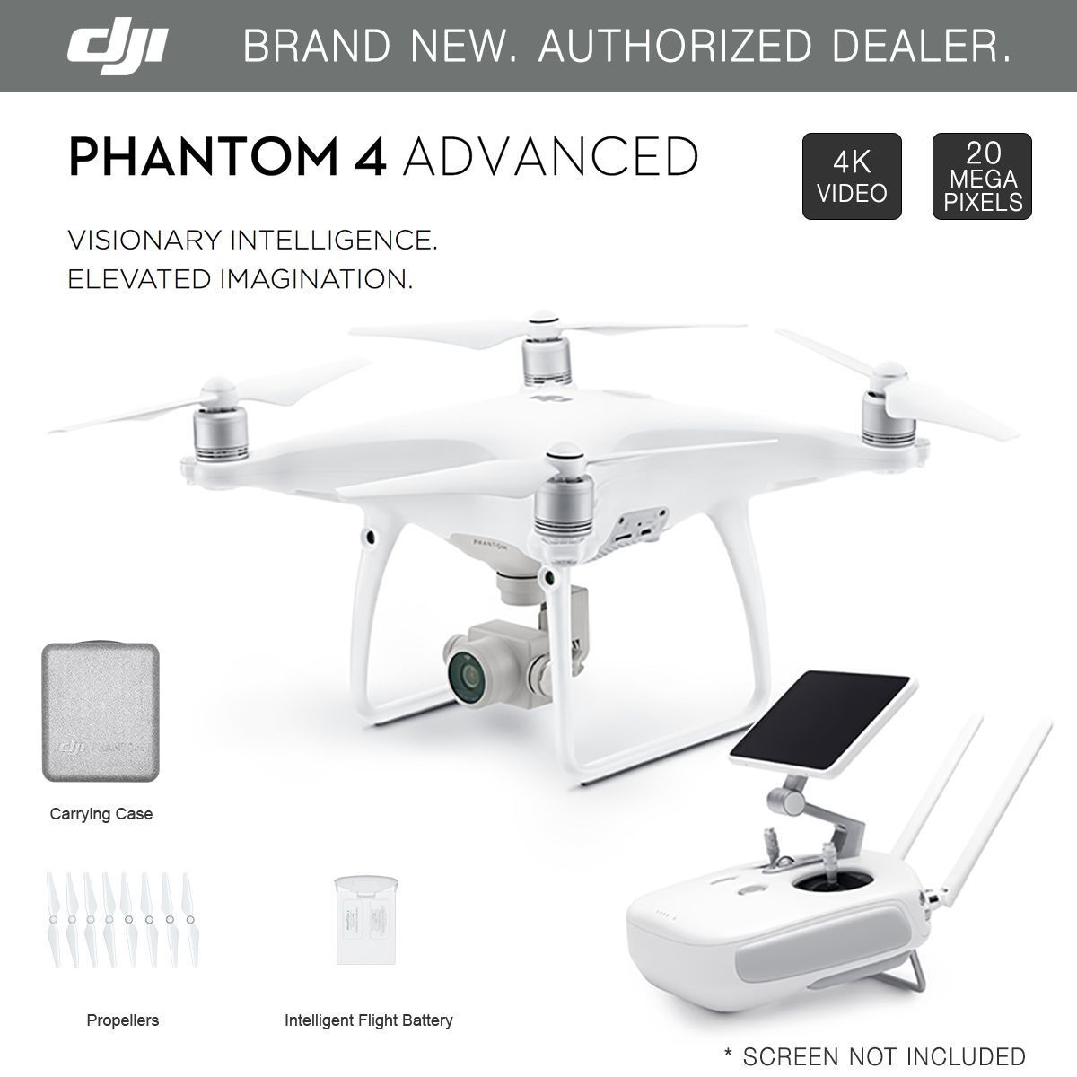 Dji Phantom 4 Advanced Gps Drone With 4k 20mp Hd Camera Brand New 3 Standard One Battery 27k Video White