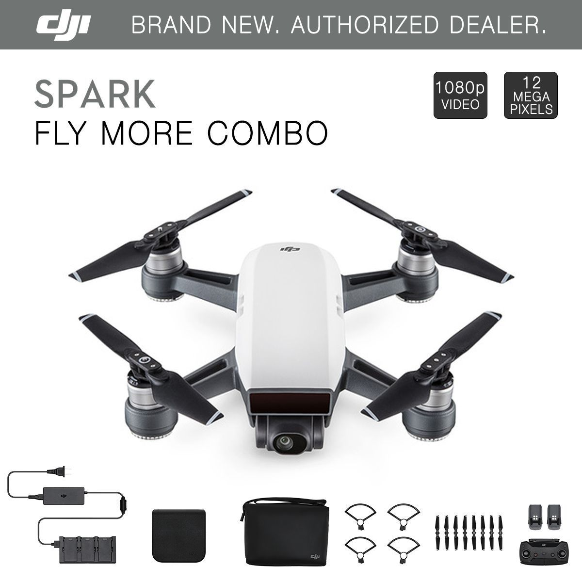 DJI Spark Fly More Combo - Alpine White Quadcopter Drone ...