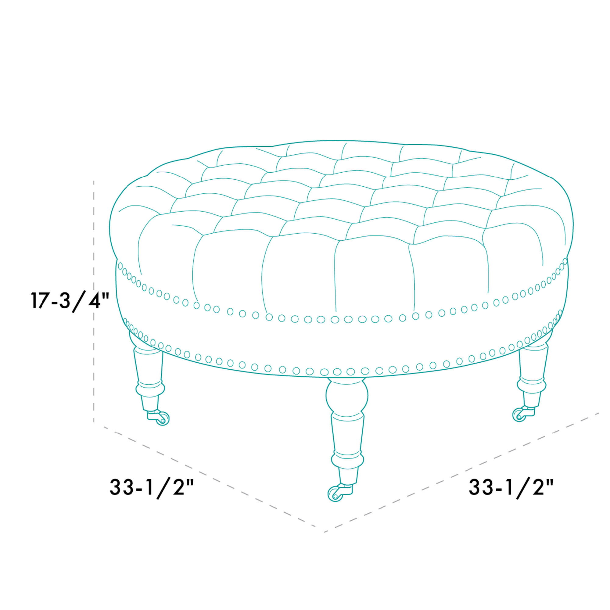 NEW Round Ottoman Footstool Tufted Bedroom Living Room w/ Caster, Beige