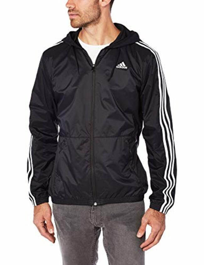 Adidas Men's Essentials Wind Jacket Black/Black/White Medium