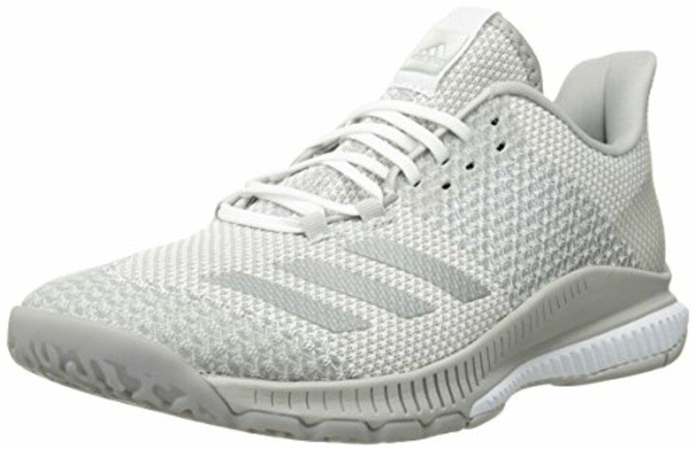 617c4a4dd08 adidas Women s Crazyflight Bounce 2 Volleyball Shoe White Silver  Metallic Grey 5.5 M US