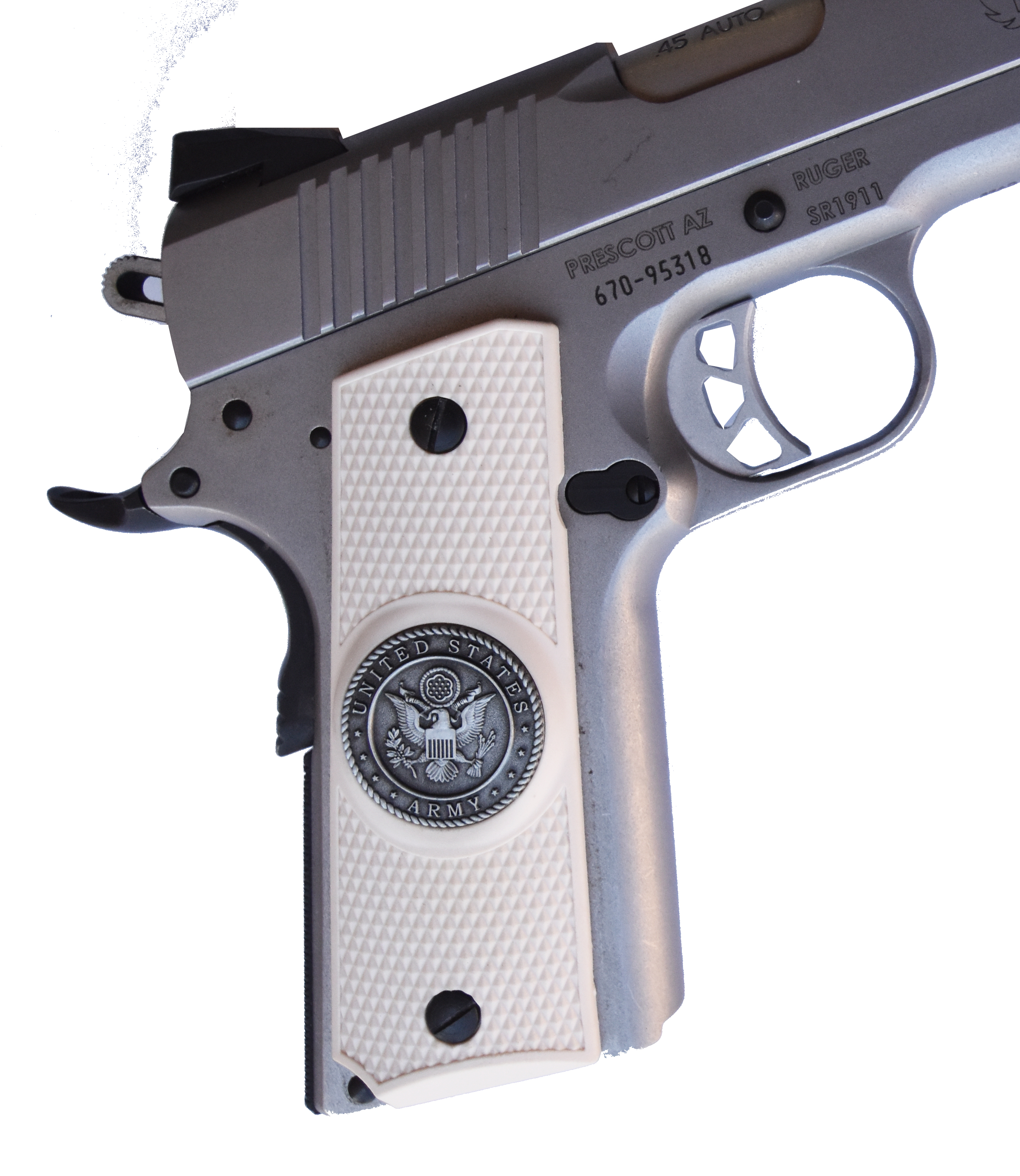 New Colt 1911 A1 Pistol Brown Plastic Nylon Grips Unissued U S G I